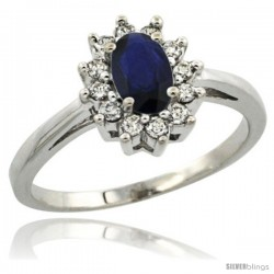 10k White Gold Blue Sapphire Diamond Halo Ring Oval Shape 1.2 Carat 6X4 mm, 1/2 in wide