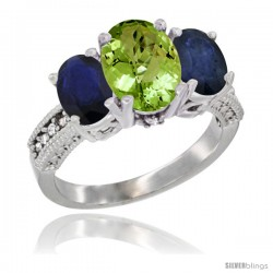10K White Gold Ladies Natural Peridot Oval 3 Stone Ring with Blue Sapphire Sides Diamond Accent