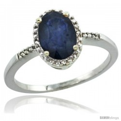 10k White Gold Diamond Blue Sapphire Ring 1.17 ct Oval Stone 8x6 mm, 3/8 in wide