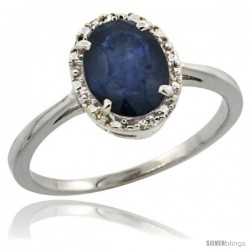 10k White Gold Diamond Halo Blue Sapphire Ring 1.2 ct Oval Stone 8x6 mm, 1/2 in wide