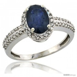 10k White Gold Diamond Halo Blue Sapphire Ring 1.2 ct Oval Stone 8x6 mm, 3/8 in wide