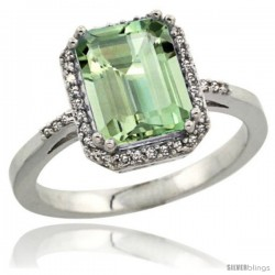 Sterling Silver Diamond Green-Amethyst Ring 2.53 ct Emerald Shape 9x7 mm, 1/2 in wide