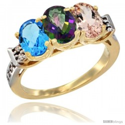 10K Yellow Gold Natural Swiss Blue Topaz, Mystic Topaz & Morganite Ring 3-Stone Oval 7x5 mm Diamond Accent