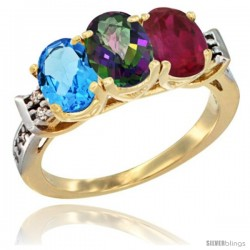 10K Yellow Gold Natural Swiss Blue Topaz, Mystic Topaz & Ruby Ring 3-Stone Oval 7x5 mm Diamond Accent