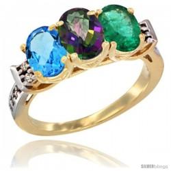 10K Yellow Gold Natural Swiss Blue Topaz, Mystic Topaz & Emerald Ring 3-Stone Oval 7x5 mm Diamond Accent