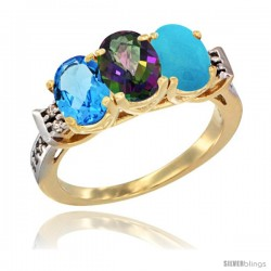 10K Yellow Gold Natural Swiss Blue Topaz, Mystic Topaz & Turquoise Ring 3-Stone Oval 7x5 mm Diamond Accent