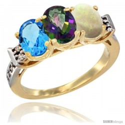 10K Yellow Gold Natural Swiss Blue Topaz, Mystic Topaz & Opal Ring 3-Stone Oval 7x5 mm Diamond Accent