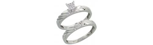 10k White Gold 2-Piece Ladies' Rings
