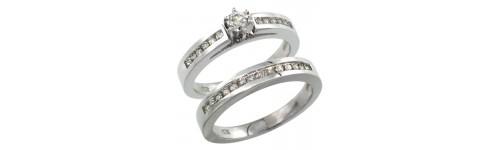 14k White Gold 2-Piece Ladies' Rings