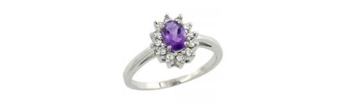 Amethyst & Diamonds Silver Rings