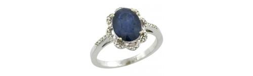 Blue Sapphire & Diamonds Silver Rings