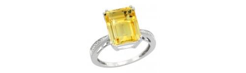 Citrine & Diamonds Silver Rings