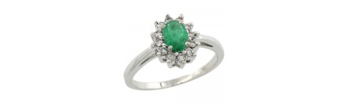 Emerald & Diamonds Silver Rings