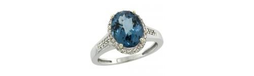 London Blue Topaz & Diamonds Silver Rings