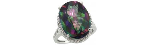 Mystic Topaz & Diamonds Silver Rings