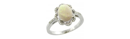 Opal & Diamonds Silver Rings