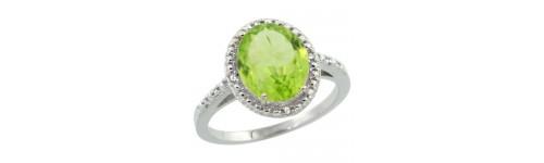 Peridot & Diamonds Silver Rings