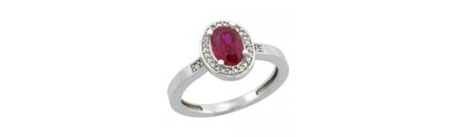 Ruby & Diamonds Silver Rings