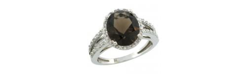 Smoky Topaz & Diamonds Silver Rings