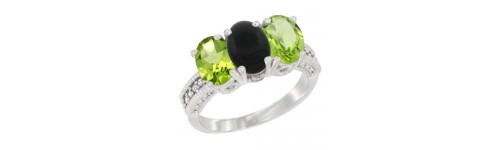 3-Stone Black Onyx Rings