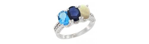 3-Stone Blue Sapphire Rings