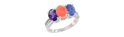 3-Stone Coral Rings