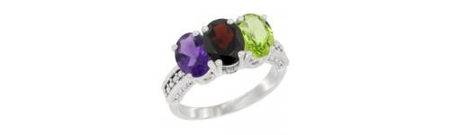 3-Stone Garnet Rings