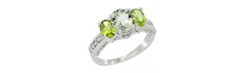 3-Stone Green Amethyst Rings