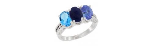 3-Stone Lapis Rings