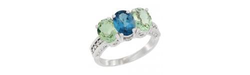 3-Stone London Blue Topaz Rings