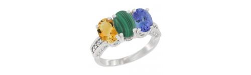 3-Stone Malachite Rings