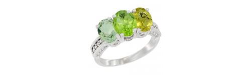 3-Stone Peridot Rings