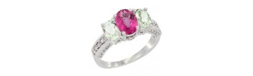 3-Stone Pink Topaz Rings