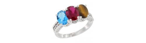 3-Stone Ruby Rings