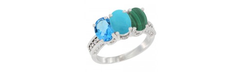 3-Stone Turquoise Rings