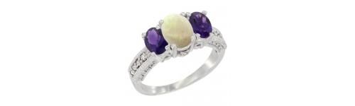 3-Stone White Opal Rings