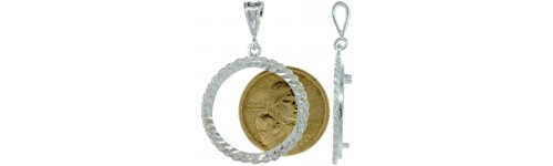 Men's Coin Bezel Frame Pendants