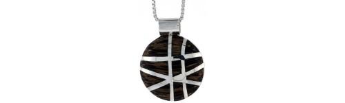 Men's Wood Inlay Pendants