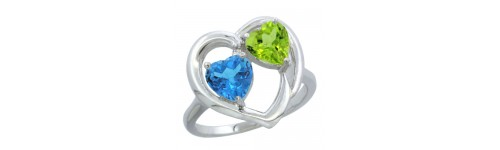 10k White Gold 2-Stone Ladies' Rings