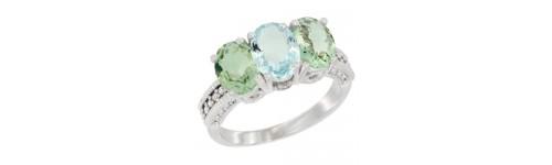 10k White Gold 3-Stone Aquamarine Rings