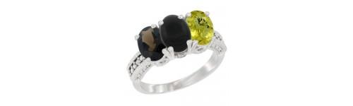 10k White Gold 3-Stone Black Onyx Rings