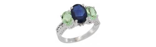 10k White Gold 3-Stone Blue Sapphire Rings