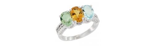 10k White Gold 3-Stone Citrine Rings