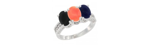 10k White Gold 3-Stone Coral Rings