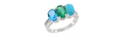 10k White Gold 3-Stone Emerald Rings