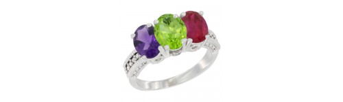 10k White Gold 3-Stone Peridot Rings