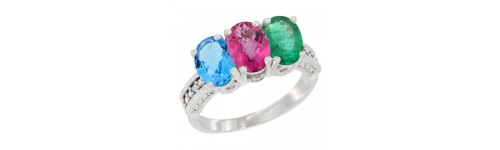 10k White Gold 3-Stone Pink Topaz Rings