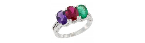 10k White Gold 3-Stone Ruby Rings