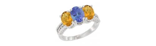 10k White Gold 3-Stone Tanzanite Rings
