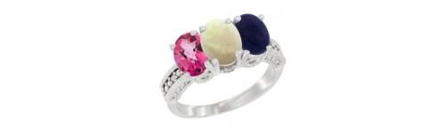 10k White Gold 3-Stone White Opal Rings
